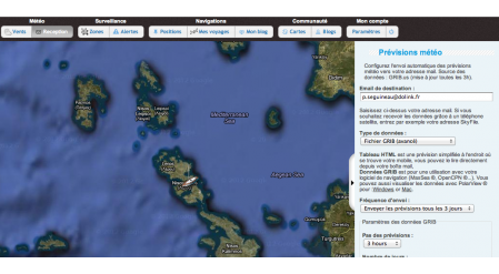 Configurez directement depuis la carte vos paramètres de réception des fichiers météo